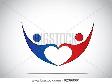 Young Man & Woman Couple Dance & Hold Hands In Love Heart Shape