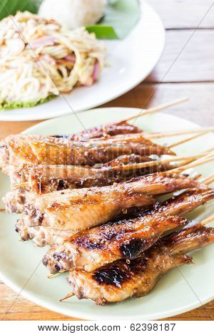 Grilled Chicken Serving With Papaya Salad