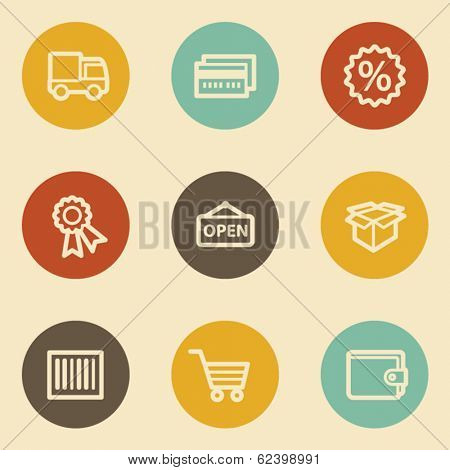 Shopping web icon set 2, retro circle buttons