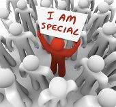 stock photo of significant  - I Am Special Words Sign Proud Person Stand Out in Crowd - JPG