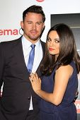 LOS ANGELES - MAR 27:  Channing Tatum, Mila Kunis at the  CinemaCon 2014 - Warners Brothers Photocal