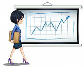 stock photo of board-walk  - Illustration of a successful businesswoman near the chart on a white background - JPG