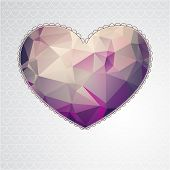 Big heart with polygonal geometric pattern