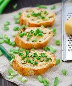 image of scallion  - Delicious baked bruschetta with cheese and scallion - JPG