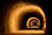 image of tunnel  - Vintage or under construction tunnel with dynamic visual effect made by the light of lanterns