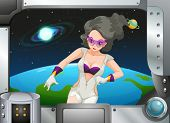 stock photo of outerspace  - Illustration of a superhero in the outerspace - JPG