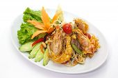 image of green papaya salad  - deep fried shrimp with Green papaya salad - JPG