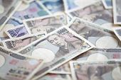 stock photo of japanese coin  - Japanese currency bank notes and coin  - JPG