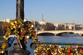 Padlocks With The Eiffel Tower In The Background