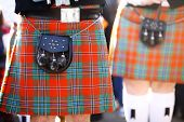 stock photo of kilts  - Color detail of a traditional Scottish kilt with a bag - JPG