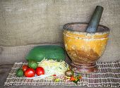 stock photo of green papaya salad  - making of green papaya salad - JPG