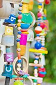image of windchime  - Handmade toy mobile / windchimes made of recycled toys and parts