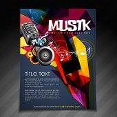 picture of booklet design  - vector music party brochure flyer template design - JPG