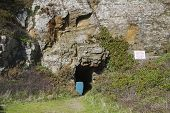stock photo of sark  - Window in the rock on sark  Channel Island