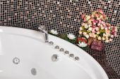 Detail Of Bathroom With Mosaic And Jacuzzi Part poster