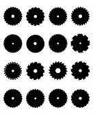 stock photo of sawing  - Black silhouettes of circular saw blades - JPG