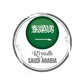 picture of riyadh  - Stamp Riyadh capital of Saudi Arabia with flag - JPG