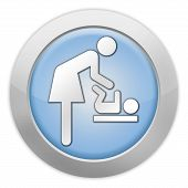 pic of diaper change  - Icon Button Pictogram with Baby Change symbol - JPG