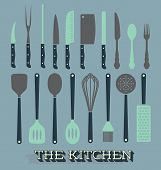 stock photo of ladle  - Collection of kitchen tool and utensil silhouettes - JPG