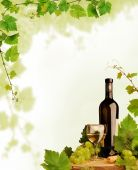 stock photo of wine bottle  - Design with white wine still life and grapevine border - JPG