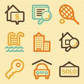 Real estate web icons set in retro style