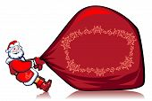 image of santa claus hat  - Santa Klaus drags very heavy bag with gifts - JPG
