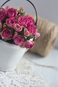 Vintage Dried Roses, Napkin And Tight Twine