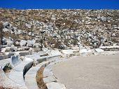 pic of phallus  - Antic theatre in historic city Delos near Mykonos Greece - JPG