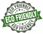 foto of environmentally friendly  - Eco friendly green grunge retro style isolated seal - JPG
