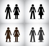 pic of female toilet  - well dressed man woman or boy girl standing concept symbols set - JPG