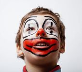 picture of pantomime  - little cute boy with facepaint like clown - JPG