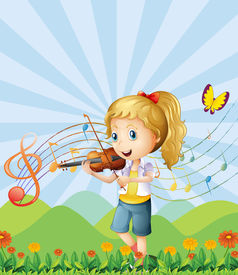 image of woman g-string  - Illustration of a girl at the hilltop playing with her violin - JPG