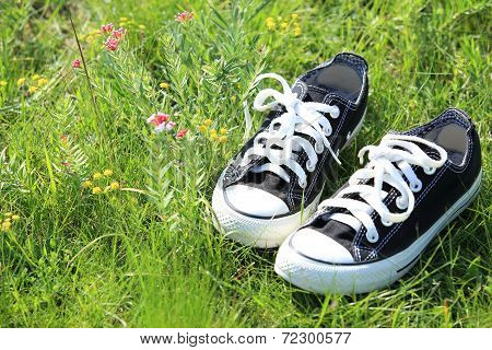 shoes on green grass