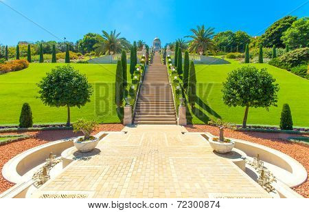 Beautiful picture of the Bahai Gardens in Haifa Israel.