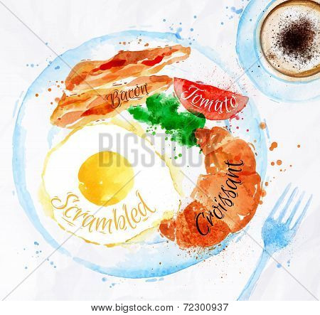 Breakfast watercolors bacon eggs