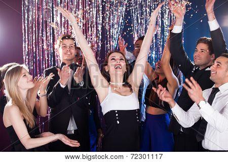 Friends Celebrating In Nightclub