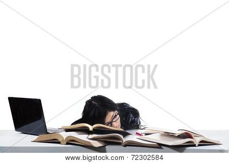 Asleep Student While Studying Time 1