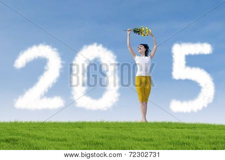 Attractive Woman Dancing To Celebrate New Year