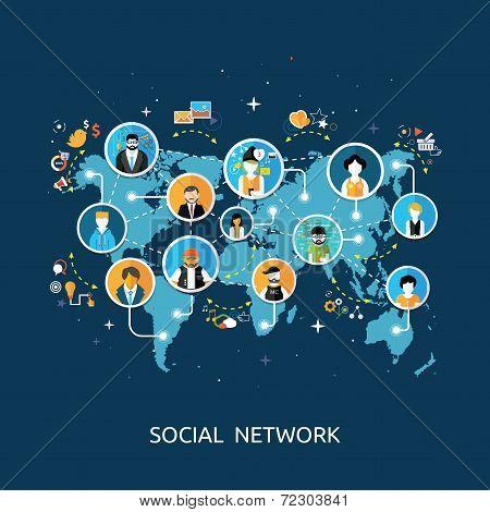 Social Media Network Connection Concept