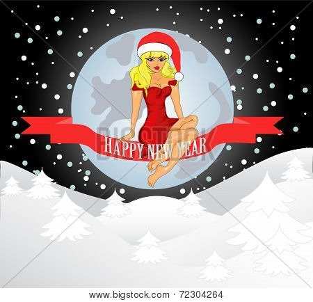 Merry Christmas Greeting Card With Snow Maiden