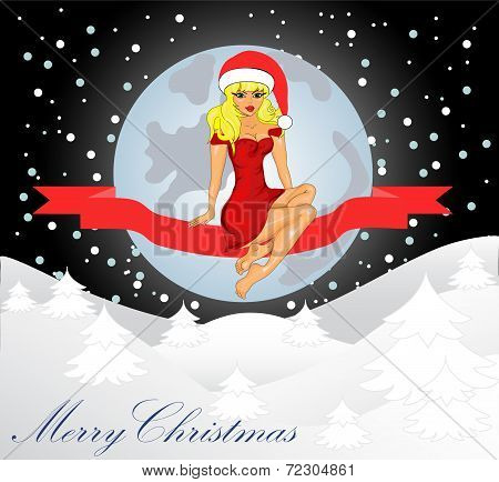 Merry Christmas Greeting Card Landscape With Snow Maiden
