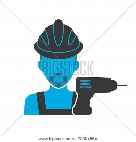 Maintenance mechanic blue icon