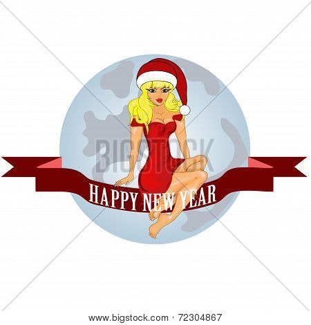 New Year Card With A Snow Maiden
