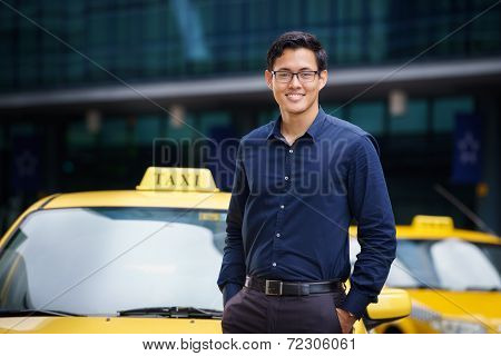 Portrait Taxi Driver Smile Car Driving Happy