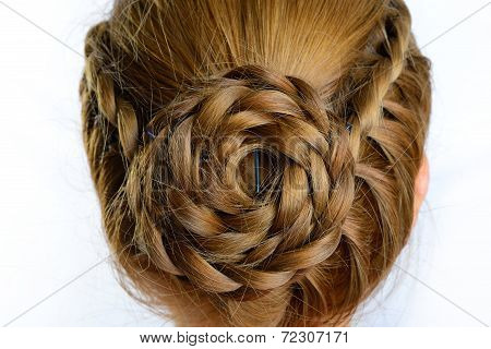 Long Braid Creative Brown Hair Style Isolated On White Background