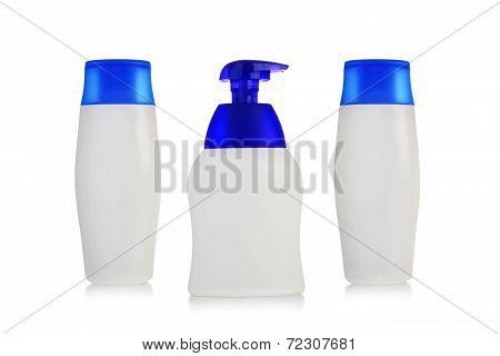 Set of bottles of shampoo, lotion, body milk-on white background