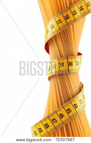 Bundle Of Spaghetti With A Meter Over It Isolated On White Background
