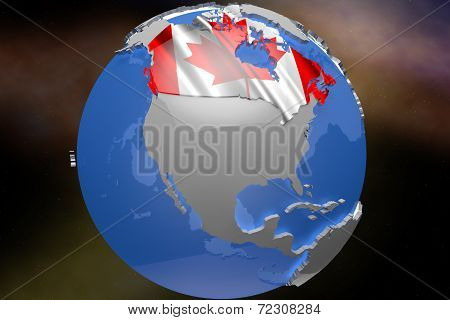 Canada Country Map on Continent 3D Illustration