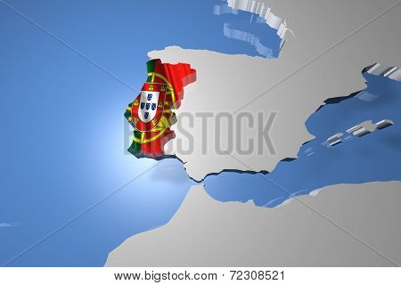 Portugal Country Map on Continent