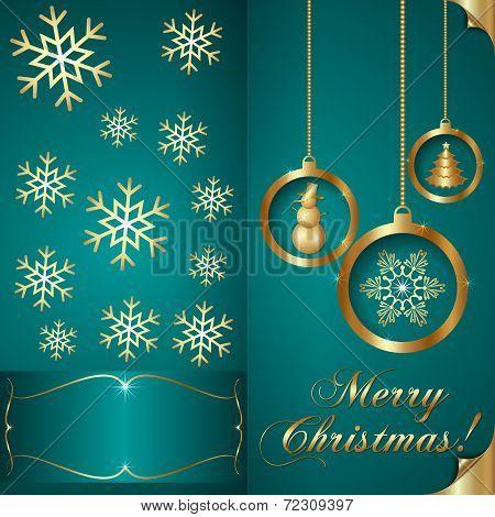 Vector Abstart cyan blue Christmas Invitation Card